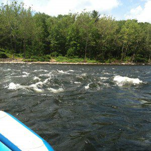 rafting on the Delaware River through the rapids