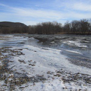 Ice on the Delaware at River Beach Campsites - Winter