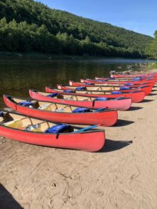 Canoes lined up